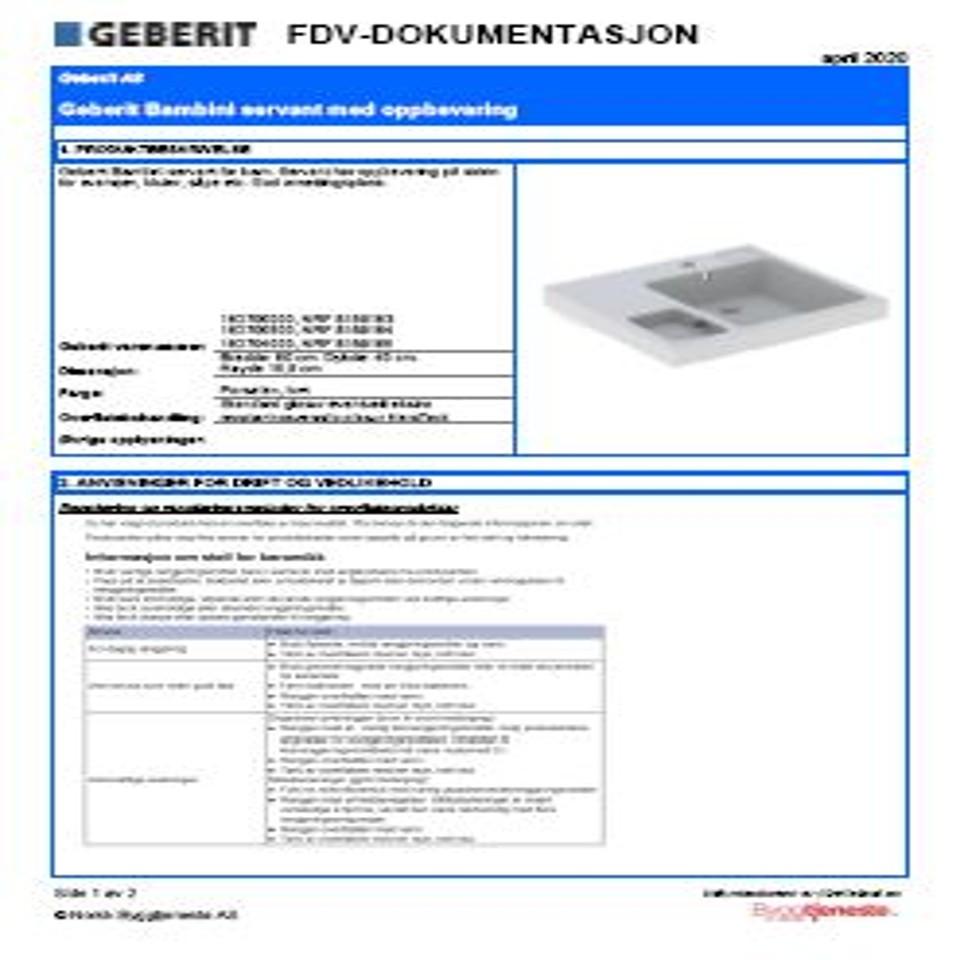 FDV Geberit Bambini servant med oppbevaring 16270xxxx