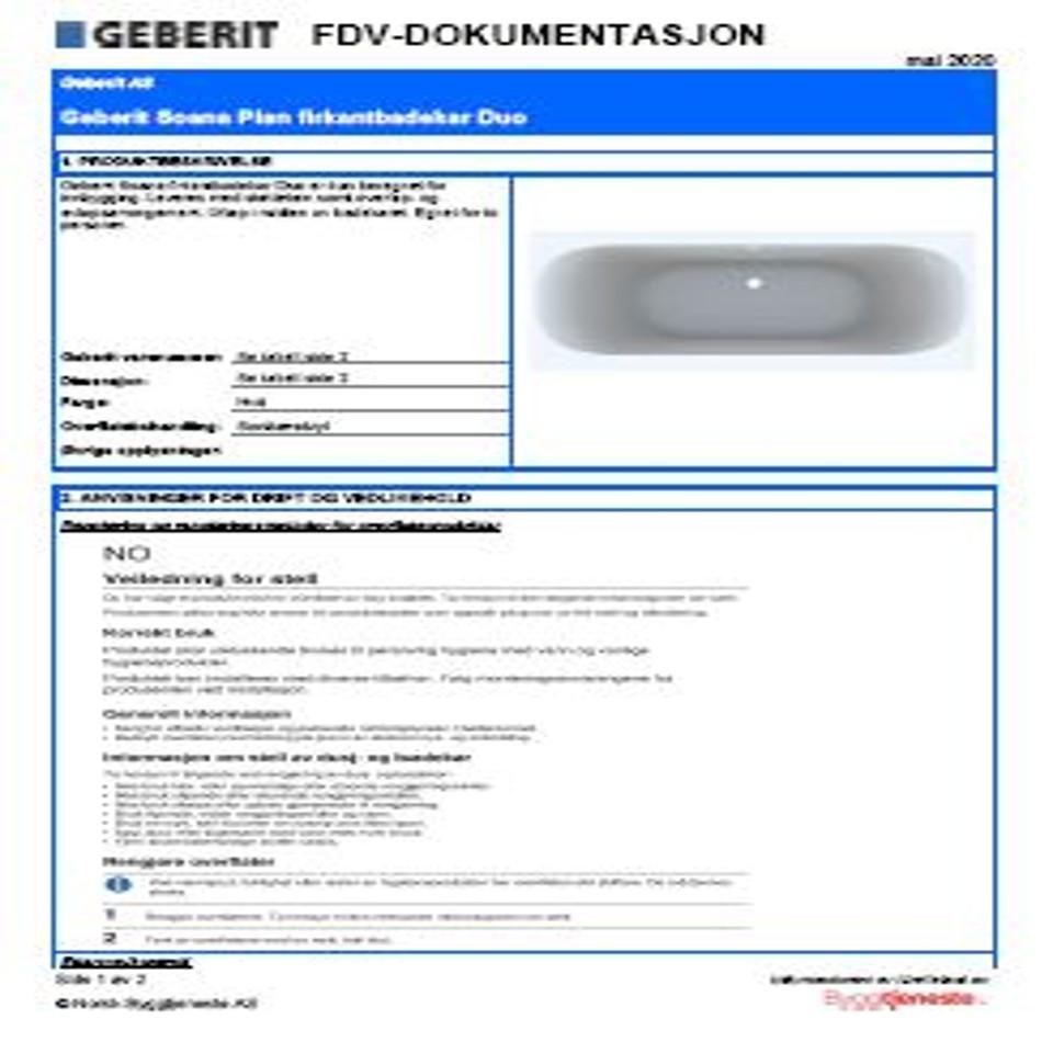 FDV Geberit Soana Duo badekar